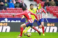 Atletico de Madrid's Stefan Savic (l) and Diego Godin and Getafe CF's Lucas Hernandez during La Liga match. January 6,2018. (ALTERPHOTOS/Acero) /NortePhoto.com NORTEPHOTOMEXICO