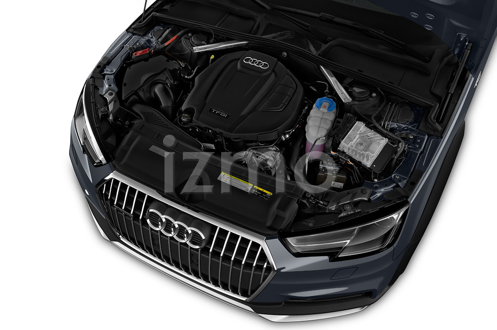 Car stock 2018 Audi A4 allroad quattro base 5 Door Wagon engine high angle detail view