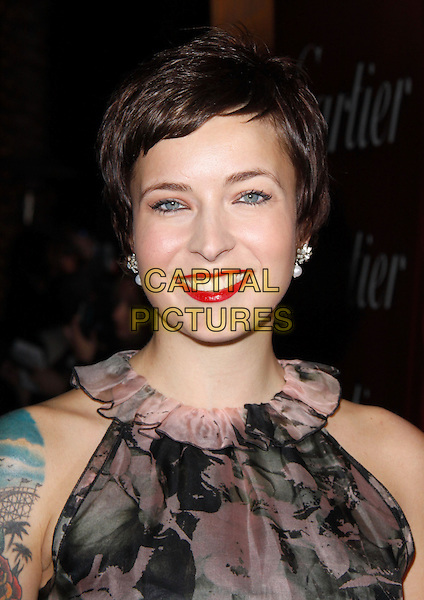 DIABLO CODY.The 21st Annual Palm Springs International Film Festival held at The Civic Center in Palm Springs, California, USA. .January 5th, 2010.headshot portrait black pink ruffle collar pattern red lipstick.CAP/RKE/DVS.©DVS/RockinExposures/Capital Pictures.