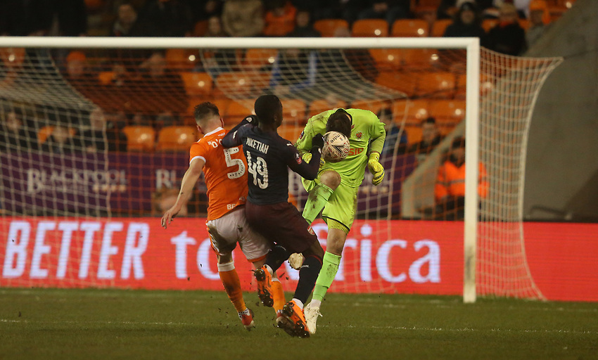 Blackpool's goalkeeper Mark Howard heads clear from Arsenal's Edward Nketiah<br /> <br /> Photographer Stephen White/CameraSport<br /> <br /> Emirates FA Cup Third Round - Blackpool v Arsenal - Saturday 5th January 2019 - Bloomfield Road - Blackpool<br />  <br /> World Copyright © 2019 CameraSport. All rights reserved. 43 Linden Ave. Countesthorpe. Leicester. England. LE8 5PG - Tel: +44 (0) 116 277 4147 - admin@camerasport.com - www.camerasport.com