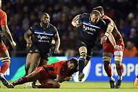 Tom Dunn of Bath Rugby takes on the Toulon defence. European Rugby Champions Cup match, between RC Toulon and Bath Rugby on December 9, 2017 at the Stade Mayol in Toulon, France. Photo by: Patrick Khachfe / Onside Images