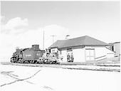 D&amp;RGW #497 and flanger #OI at Hooper depot.<br /> D&amp;RGW  Hooper, CO  Taken by Richardson, Robert W. - 1/14/1949