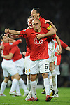 Manchester United's Wes Brown, Manchester United's Michael Carrick and Manchester United's Rio Ferdinand celebrate during the Champions League semi-final 2nd leg match at Old Trafford, Manchester. Picture date 29th April 2008. Picture credit should read: Simon Bellis/Sportimage