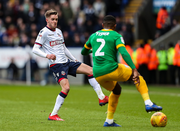 Bolton Wanderers' Craig Noone competing with Preston North End's Darnell Fisher  <br /> <br /> Photographer Andrew Kearns/CameraSport<br /> <br /> The EFL Sky Bet Championship - Bolton Wanderers v Preston North End - Saturday 9th February 2019 - University of Bolton Stadium - Bolton<br /> <br /> World Copyright © 2019 CameraSport. All rights reserved. 43 Linden Ave. Countesthorpe. Leicester. England. LE8 5PG - Tel: +44 (0) 116 277 4147 - admin@camerasport.com - www.camerasport.com