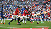 Manchester United's Romelu Lukaku just fails to get on the end of Paul Pogba's late header<br /> <br /> Photographer Rob Newell/CameraSport<br /> <br /> Emirates FA Cup Final - Chelsea v Manchester United - Saturday 19th May 2018 - Wembley Stadium - London<br />  <br /> World Copyright &copy; 2018 CameraSport. All rights reserved. 43 Linden Ave. Countesthorpe. Leicester. England. LE8 5PG - Tel: +44 (0) 116 277 4147 - admin@camerasport.com - www.camerasport.com