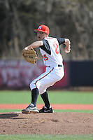 Rutgers Scarlet Knights pitcher Gaby Rosa (25) during game game 2 of a double header against the University of Houston Cougars at Bainton Field on April 5, 2014 in Piscataway, New Jersey. Houston defeated Rutgers 9-1.      <br />  (Tomasso DeRosa/ Four Seam Images)