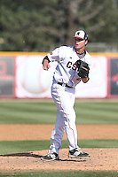 Conner O'Neil (25) of the Cal State Northridge Matadors pitches during a game against the UC Santa Barbara Gouchos at Matador Field on April 10, 2015 in Northridge, California. UC Santa Barbara defeated Cal State Northridge, 7-4. (Larry Goren/Four Seam Images)
