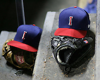 Iowa Cubs hats. Photo by Andrew Woolley/ Four Seam Images.