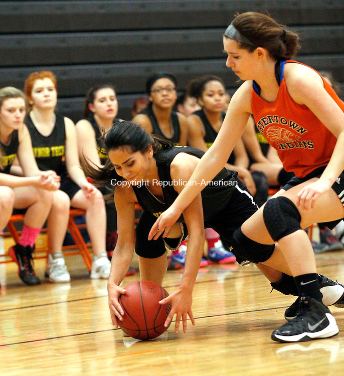 Watertown, CT- 04 December 2015-1204115CM13- Watertown's Taylor Mancinone, right and Kaynor Tech's Nathalia Vega go after the ball during a scrimmage in Watertown on Friday.     Christopher Massa Republican-American