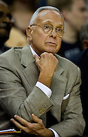 Charlotte Bobcats coach Larry Brown watches his team take on the Orlando Magic during an NBA basketball game  at Time Warner Cable Arena in Charlotte, NC.