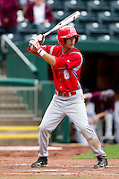 David Compitello (8) of the Bradley Braves at bat during a game against the Missouri State Bears on May 13, 2011 at Hammons Field in Springfield, Missouri.  Photo By David Welker/Four Seam Images