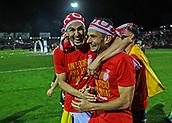 June 4th 2017, Estadi Montilivi,  Girona, Catalonia, Spain; Spanish Segunda División Football, Girona versus Zaragoza; Two Girona players show their delight at being promoted to La Liga for 2017-18 season