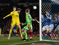 Fleetwood Town's Harry Souttar scores his side's second goal <br /> <br /> Photographer David Horton/CameraSport<br /> <br /> The EFL Sky Bet League One - Portsmouth v Fleetwood Town - Tuesday 10th March 2020 - Fratton Park - Portsmouth<br /> <br /> World Copyright © 2020 CameraSport. All rights reserved. 43 Linden Ave. Countesthorpe. Leicester. England. LE8 5PG - Tel: +44 (0) 116 277 4147 - admin@camerasport.com - www.camerasport.com