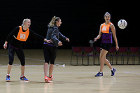 01.09.2017  Shannon Francois, Gina Crampton and Te Paea Selby-Rickit during the Silver Ferns training session ahead of the Quad Series at the ILT Stadium Southland in Invercargill. Mandatory Photo Credit © Copyright photo: Dianne Manson/Michael Bradley Photography