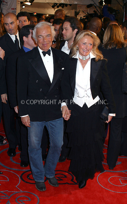 "Designer Ralph Lauren and his wife Ricky arriving at ""GQ Men of the Year Awards"" in New York. October 16, 2002. Please byline: Alecsey Boldeskul/NY Photo Press.   ..*PAY-PER-USE*      ....NY Photo Press:  ..phone (646) 267-6913;   ..e-mail: info@nyphotopress.com"