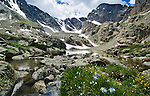 Sky Pond affords great views of Taylor Peak and Taylor Glacier along the Continental Divide, high in Rocky Mountain National Park near Estes Park, Colorado, USA, summer day in July