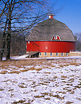 Johnson Sauk Trail State Park, IL<br /> A dusting of snow covers the meadow in front of Ryan's round barn (built in 1910) in Henry County