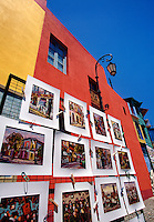 Colored houses and paintings La Boca Buenos Aires Argentina.