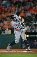 HOUSTON, TX - AUGUST 28:  Evan Longoria #3 of the Tampa Bay Rays bats against the Houston Astros during the game at Minute Maid Park on Sunday, August 28, 2016 in Houston, Texas. Photo by Brad Mangin