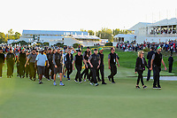 The International Team makes its way to the trophy ceremony following round 4 Singles of the 2017 President's Cup, Liberty National Golf Club, Jersey City, New Jersey, USA. 10/1/2017. <br /> Picture: Golffile | Ken Murray<br /> <br /> All photo usage must carry mandatory copyright credit (&copy; Golffile | Ken Murray)