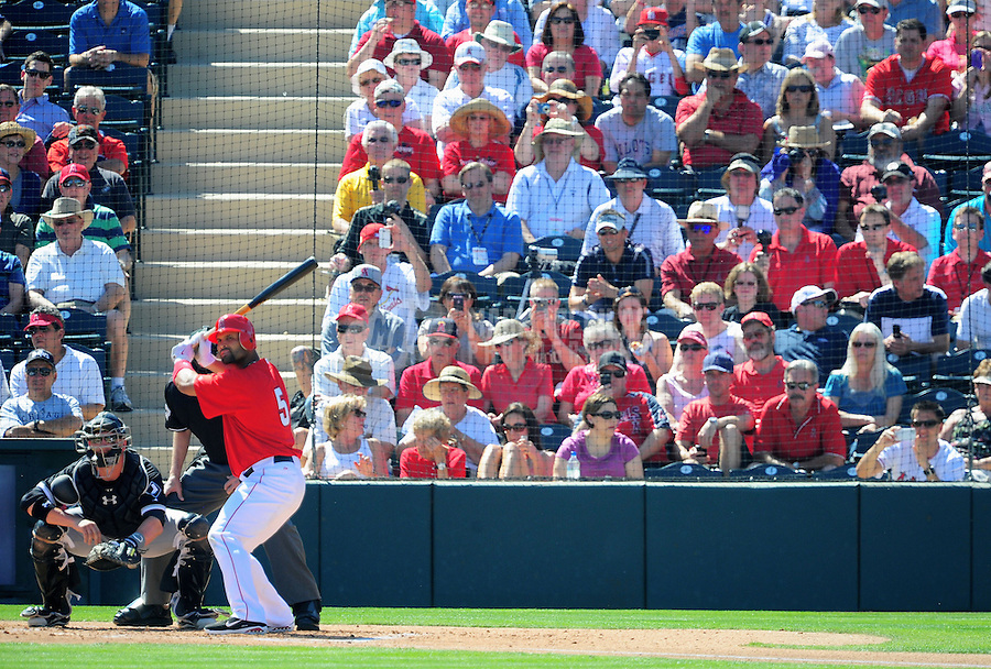 Mar. 6, 2012; Tempe, AZ, USA; Fans look on as Los Angeles Angels designated hitter Albert Pujols bats in the first inning against the Chicago White Sox during a spring training game at Tempe Diablo Stadium.  Mandatory Credit: Mark J. Rebilas-