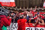 Solna 2015-09-08 Fotboll EM-kval , Sverige - &Ouml;sterrike :  <br /> &Ouml;sterrikes supportrar jublar med &Ouml;sterrikes f&ouml;rbundskapten Marcel Koller efter matchen mellan Sverige och &Ouml;sterrike <br /> (Photo: Kenta J&ouml;nsson) Keywords:  Sweden Sverige Solna Stockholm Friends Arena EM Kval EM-kval UEFA Euro European 2016 Qualifying Group Grupp G &Ouml;sterrike Austria jubel gl&auml;dje lycka glad happy supporter fans publik supporters