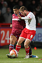 Stacy Long of Stevenage tackled by Joss Labadie of Tranmere. - Stevenage v Tranmere Rovers - npower League 1 - Lamex Stadium, Stevenage - 17th December 2011  .© Kevin Coleman 2011 ... ....  ...  . .