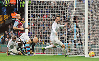 Andre Ayew of Swansea City scores the winning goal 1-2 during the Barclays Premier League match between Aston Villa v Swansea City played at the Villa Park Stadium, Birmingham on October 24th 2015