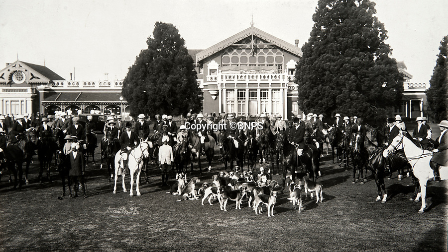 BNPS.co.uk (01202 558833)<br /> Pic: PhilYeomans/BNPS<br /> <br /> The Ootacamund hunt outside the Assembly Roooms of the famous Indian hill station, where the British escaped the heat and the dust of the lowlands during the summer months. <br /> <br /> Last Days of the Raj - A fascinating family album from one of the last Viceroy's of India reveal Britain's 'Jewel in the Crown' in all its splendour.<br /> <br /> The family album of Viscount George Goschen has been unearthed after 90 years, and provide's an amazing snapshot of the pomp and pageantry of a wealthy and powerful British family in India in the 1920s and 30's.<br /> <br /> They show the Governor of Madras and his family enjoying a lavish lifestyle of parades, banquets and hunting and horse racing in the last decades of the Raj.<br /> <br /> At the time, Gandhi was organising peasants, farmers and labourers to protest against excessive land-tax and discrimination. <br /> <br /> The album consists of some 300 large photographs. They have remained in the family for 90 years but have now emerged for auction following a house clearance and are tipped to sell for &pound;200.