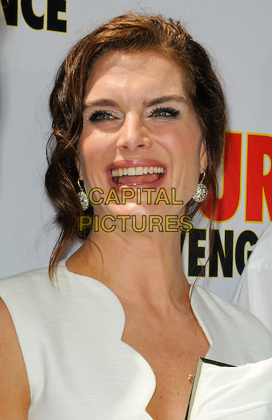 "BROOKE SHIELDS.The Los Angeles premiere of ""Furry Vengeance"" at Mann Bruin Theatre in Westwood, California, USA..April 18th, 2010 .headshot portrait hair up earrings silver white scallop edge edged wavy trim smiling mouth open.CAP/ROT.©Lee Roth/Capital Pictures"
