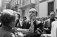 "- Milan, April 1976, Giorgio Almirante, secretary of MSI neo-fascist party  participates in the funeral of city councilman Enrico Pedenovi, killed in an ambush by leftist terrorist group ""First Line"".. ..- Milano, aprile 1976, Giorgio Almirante, segretario del partito neofascista MSI partecipa al funerale del consigliere comunale Enrico Pedenovi, ucciso in un agguato dall'organizzazione terrorista di sinistra ""Prima Linea"""