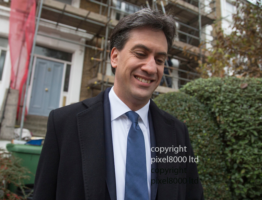 Pic shows: Rochester by-election defeat aftermath -<br /> Ed Miliband Labour leader leaves his home in trendy Gospel Oak, North London<br /> <br /> UKIP's Reckless wins Rochester and Strood seat<br /> <br /> <br /> <br /> <br /> Pic by Gavin Rodgers/Pixel 8000 Ltd