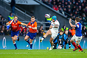 10th February 2019, Twickenham Stadium, London, England; Guinness Six Nations Rugby, England versus France; Jack Nowell of England kicks the ball along the wing