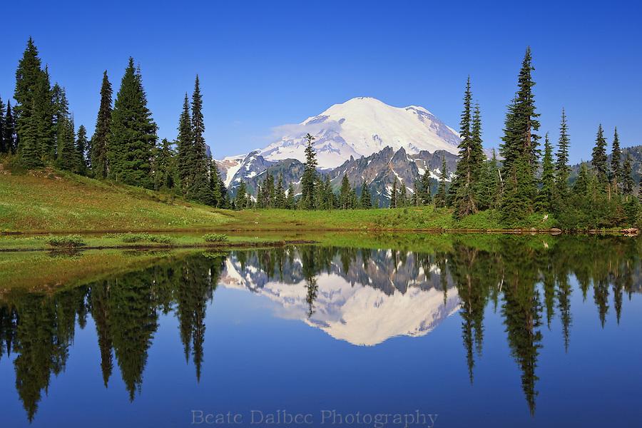 Mt. Rainier reflecting in upper Tipsoo Lake
