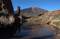 The peak of Mount Teide, the highest mountain in Spain, Tenerife, Canary Islands.
