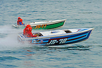 "JS-78 ""Flyin High"", Jersey Speed Skiff & JS-77 ""Zippy Pickle"", Jersey Speed Skiff..10-12 July, 2009, 100th Gold Cup, Detroit River, Detroit, MI USA..©2009 F.Peirce Williams, USA."