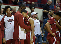 NWA Democrat-Gazette/CHARLIE KAIJO Arkansas Razorbacks guard Jalen Harris (5) reacts after a loss in the NCAA National Invitation Tournament, Saturday, March 23, 2019 at the Simon Skjodt Assembly Hall at the University of Indiana in Bloomington, Ind. The Arkansas Razorbacks fell to the Indiana Hoosiers 63-60.
