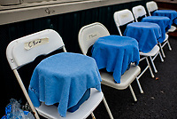 FRANKLIN, KY - SEPTEMBER 08: Buckets of ice water await hot jockeys after races on Kentucky Turf Cup Day at Kentucky Downs on September 8, 2018 in Franklin, Kentucky. (Photo by Scott Serio/Eclipse Sportswire/Getty Images)
