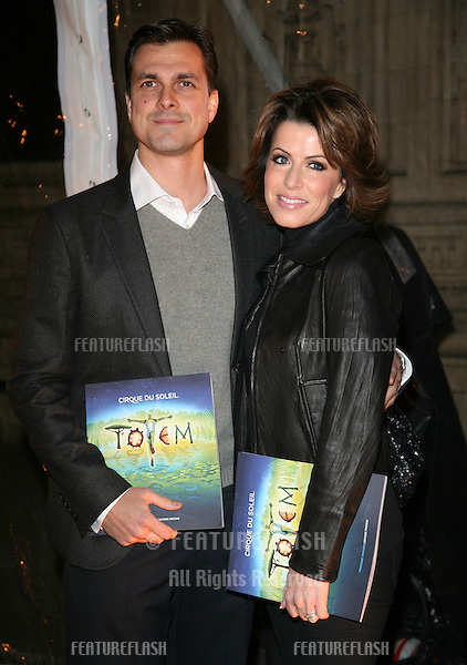 Natasha Kaplinsky and husband Justin Bower arriving for the Cirque du Soleil Gala Performance of Totem, at the Royal Albert Hall, London.  05/01/2012  Picture by: Alexandra Glen / Featureflash
