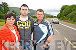 Mary, Stephen and Kieran O'Callaghan some of the residents who are campaigning to improve the safety of the entrance to their homes off the main Cork Killarney road at Inch, Clonkeen...............................................................................................