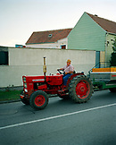 AUSTRIA, Joie, Andre drives grapes from the fields to his farm, Golouborger Wine, Burgenland