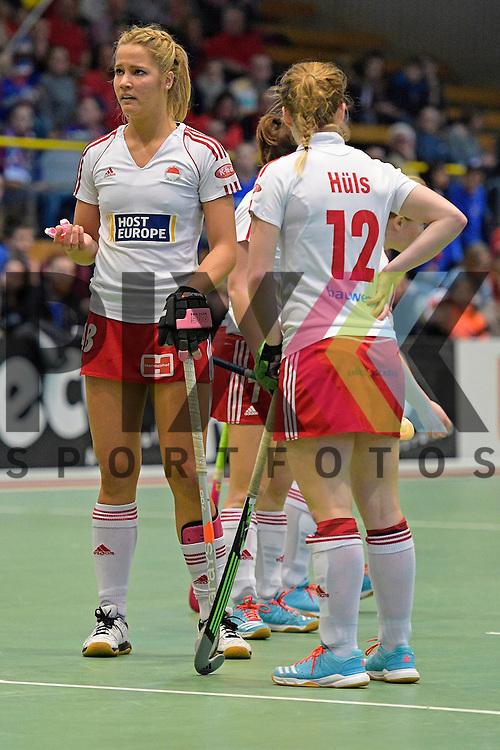 GER - Luebeck, Germany, February 06: During the 1. Bundesliga Damen indoor hockey semi final match at the Final 4 between Rot-Weiss Koeln (white) and Mannheimer HC (blue) on February 6, 2016 at Hansehalle Luebeck in Luebeck, Germany. Final score 1-2 (HT 0-2).   Hannah Gablac #48 of Rot-Weiss Koeln<br /> <br /> Foto &copy; PIX-Sportfotos *** Foto ist honorarpflichtig! *** Auf Anfrage in hoeherer Qualitaet/Aufloesung. Belegexemplar erbeten. Veroeffentlichung ausschliesslich fuer journalistisch-publizistische Zwecke. For editorial use only.