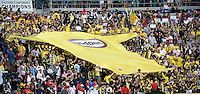 Columbus Crew fans with flag during MLS Cup 2008. Columbus Crew defeated the New York Red Bulls, 3-1, Sunday, November 23, 2008. Photo by John Todd/isiphotos.com