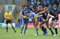 Warrington Wolves' Sitaleki Akauola is tackled by Hull FC's Joe Westerman and Chris Green <br /> <br /> Photographer Stephen White/CameraSport<br /> <br /> Betfred Super League Round 15 - Warrington Wolves v Hull FC - Saturday 18th May 2019 - Halliwell Jones Stadium - Warrington<br /> <br /> World Copyright © 2019 CameraSport. All rights reserved. 43 Linden Ave. Countesthorpe. Leicester. England. LE8 5PG - Tel: +44 (0 116 277 4147 - admin@camerasport.com - www.camerasport.com