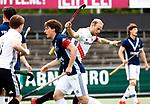 AMSTELVEEN  -  Billy Bakker (Adam) heeft gescoord.   Hoofdklasse hockey dames ,competitie, heren, Amsterdam-Pinoke (3-2)  . COPYRIGHT KOEN SUYK