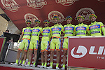 Yellow Fluo team at sign on in San Gimignano before the start of the 2014 Strade Bianche race over the white dusty gravel roads of Tuscany, Italy. 8th March 2014.<br /> Picture: Eoin Clarke www.newsfile.ie