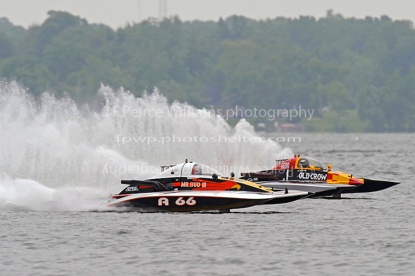 "Buster Graham, A-66 ""Mr. Bud III"" and Dan Kanfoush, A-600 ""Old Crow"" race through the first turn.  (2.5 MOD class hydroplane(s)"