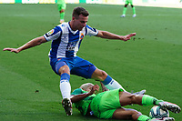 5th July 2020; RCDE Stadium, Barcelona, Catalonia, Spain; La Liga Football, Real Club Deportiu Espanyol de Barcelona versus Leganes;  Embarba is slide tackled by Rosales of Leganes
