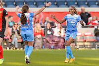 Bridgeview, IL, USA - Saturday, April 23, 2016: Chicago Red Stars defender Casey Short (6) celebrates a first half goal with midfielder Danielle Colaprico (24) during a regular season National Women's Soccer League match between the Chicago Red Stars and the Western New York Flash at Toyota Park. Chicago won 1-0.