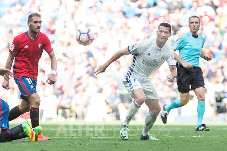 Real Madrid's Cristiano Ronaldo during the match of La Liga between Real Madrid and Club Atletico Osasuna at Santiago Bernabeu Estadium in Madrid. September 10, 2016. (ALTERPHOTOS/Rodrigo Jimenez)